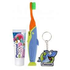 Pierrot Sharky Mini Kit Дорожный набор для детей (щетка, подставка, зубная паста)