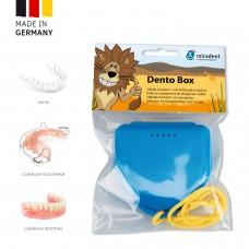 Miradent Dento Box Blue ударостойкий футляр для хранения ортопедических конструкций голубой (69*78*26)