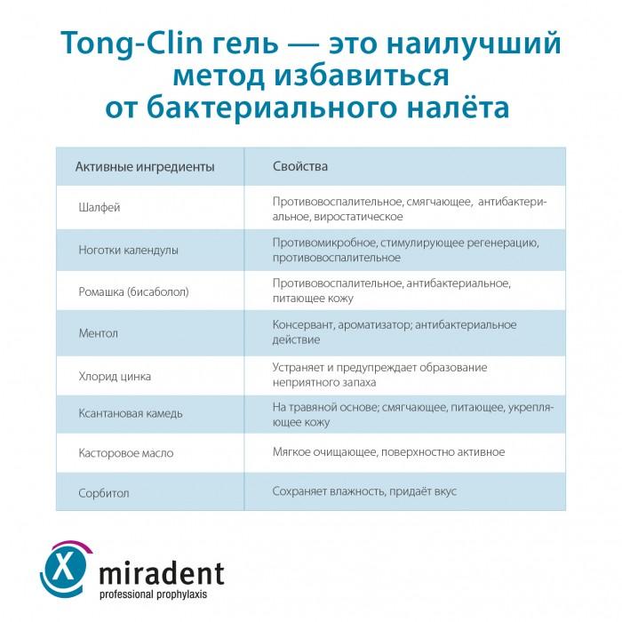 Miradent Tong Clin Set набор для чистки языка щетка-скребок плюс гель (50 мл)