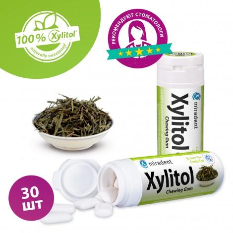 Miradent Xylitol The Vert жевательная резинка со вкусом зеленого чая 30 шт (30 гр)