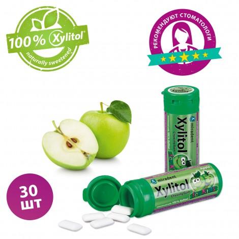 Miradent Xylitol Chewing Gum Kids жевательная резинка яблоко 30 шт (30 гр)