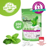 Miradent Xylitol свежая мята жевательные резинки 200 шт