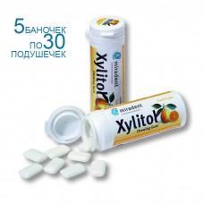 Miradent Xylitol Fruits Frais жевательная резинка свежие фрукты, набор 5 баночек по 30 подушечек