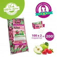Miradent Xylitol Kids детские ассорти жевательные резинки, 100х2 шт, 200 подушечек, в целофане