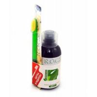 ROCS Ополаскиватель двойная мята и Зубная щетка классическая средняя (PR105)