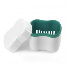 Andent DB09 контейнер с сеточкой для съемных зубных протезов белый-бирюзовый (70*81*78)
