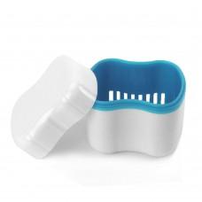 Andent DB09 контейнер с сеточкой для съемных зубных протезов белый-голубой (70*81*78)