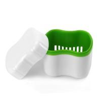 Andent DB09 контейнер с сеточкой для съемных зубных протезов белый-салатовый (70*81*78)