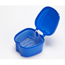Andent DB17 (90х90х70 мм) контейнер с сеточкой для съемных зубных протезов синий