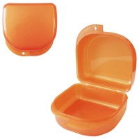 MIG DB-02 Оранжевый-перламутровый контейнер для съемных зубных протезов (71*78*45 мм)