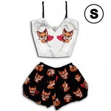 Чернега Лисы с сердцем размер S Пижама женская классический топ и шорты