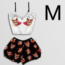 Чернега Лисы с сердцем размер М Пижама женская классический топ и шорты