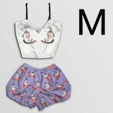 Чернега Пижама женская шелковая Единорожки размер М (классический топ+шорты)