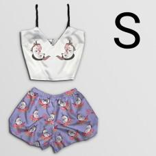 Чернега Пижама женская шелковая Единорожки размер S (классический топ+шорты)