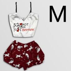 Чернега Пижама женская шелковая Кот да Винчик размер М (классический топ+шорты)