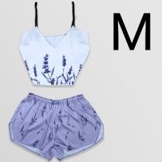 Чернега Пижама женская шелковая Лаванда размер M (классический топ+шорты)
