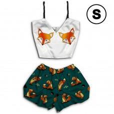 Чернега Лисы классика размер S Пижама женская классический топ и шорты