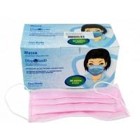 Dispoland Маски защитные медицинские 3-х слойные розовые (50 шт/уп)