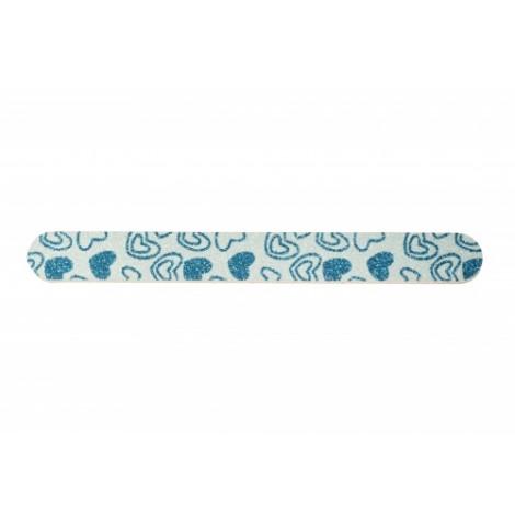 """Dona Jerdona 100895 пилка для  натуральных ногтей овальная узкая """"голубое сердце"""" с блестками"""