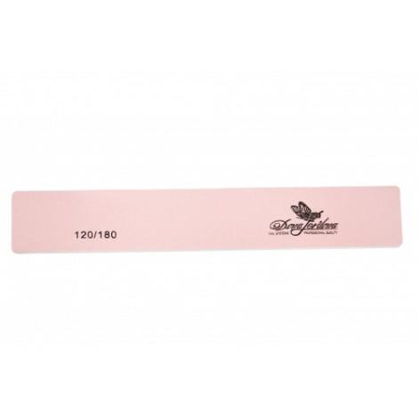 Дона Жердона 100418 пилка для искусственных и натуральных ногтей 120/180 грит прямоугольная широкая розовая