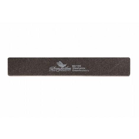 Дона Жердона 100220 пилка для искусственных ногтей 80/100 грит прямоугольная широкая черная