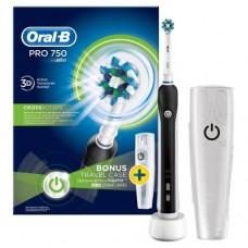 Braun ORAL-B pro 750 crossaction D16.513 чёрная электрическая зубная щетка и кейс