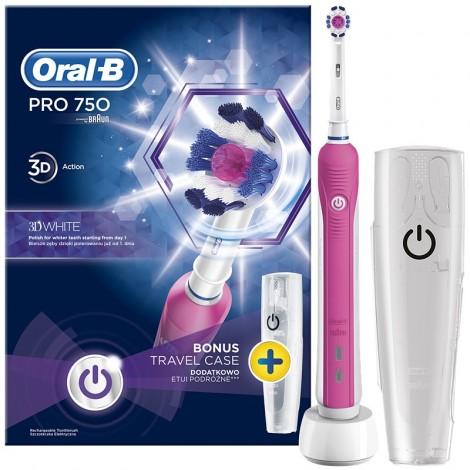 Braun Oral-B PRO 750 3D White D16.513.UX Pink электрическая зубная щетка и кейс в подарок