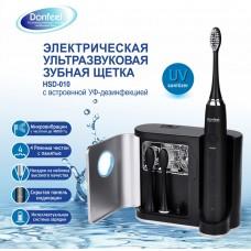 Donfeel HSD-010 ультразвуковая зубная щетка черная аккумуляторная (3 насадки)