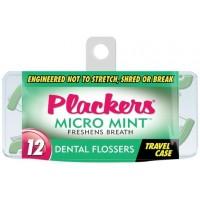 Plackers Micro Mint Travel Case Зубной станок (флоссер) с запатентованной нитью TUFFLOSS (12 шт в уп)