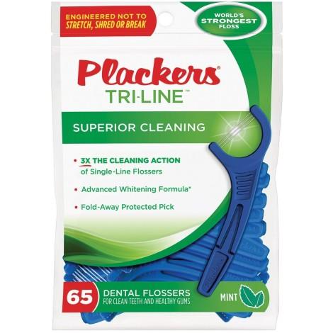 Plackers Tri-Line зубной станок (флоссер) с запатентованной нитью TUFFLOSS (65 шт)