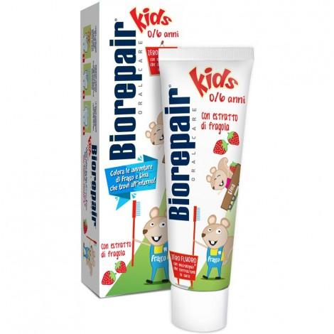 Детская зубная паста Biorepair Kids с экстрактом земляники от 0-6 лет