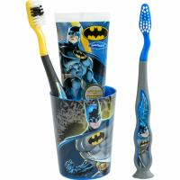 SmileGuard Batman Набор дентальный в колбе 3+ (2 мягкие зубные щетки, зубная паста 75мл, стакан)